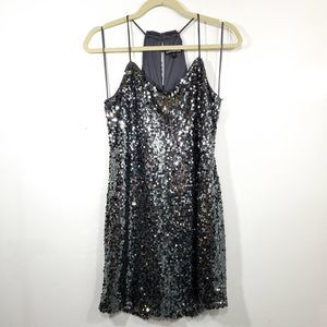 Express Silver Sequence Mini Strappy Dress